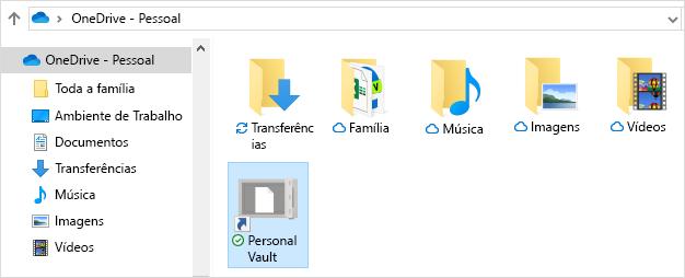 Atalho do Personal Vault do OneDrive