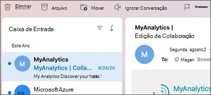 Ignore o botão De conversação no Outlook for Mac.