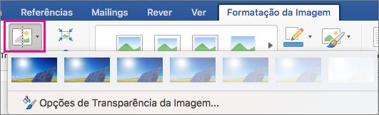 No separador formatação da imagem, a transparência está realçada.
