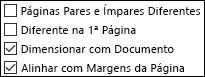 Opções Cabeçalho e Rodapé na caixa de diálogo Configurar Página