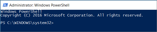 Aspeto do PowerShell quando o abre pela primeira vez.