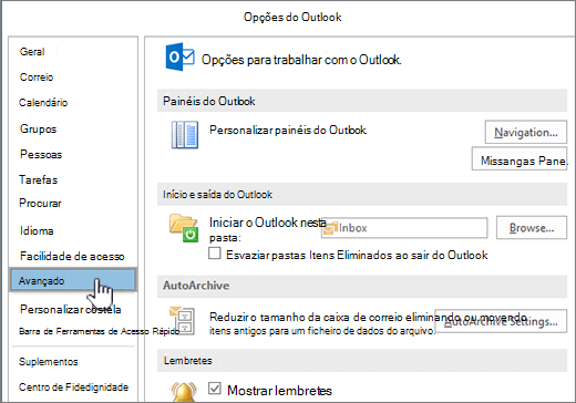 Opções do Outlook com avançadas selecionada