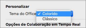O menu pendente do tema do Office onde o utilizador pode selecionar tema colorido ou clássico