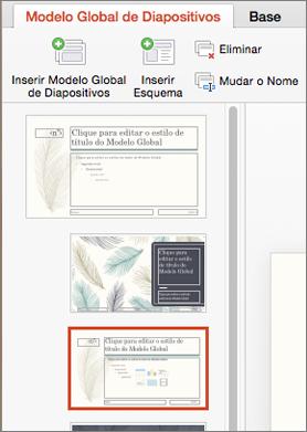 O painel de miniaturas mostra esquemas ao editar o modelo global de diapositivos