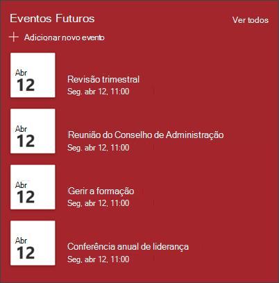 Captura de ecrã da peça Web Eventos