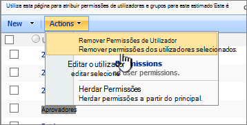 Remova as permissões do utilizador do menu Action