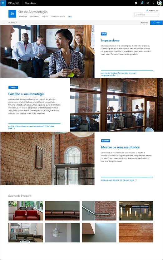 Estrutura da apresentação do site de comunicação do SharePoint