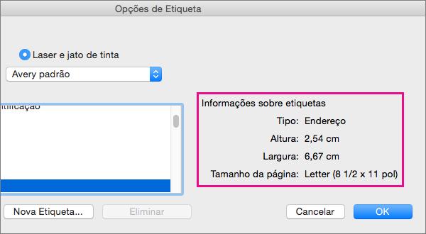 Quando seleciona um tipo de etiqueta na lista de Números de produto à esquerda, o Word apresenta as respetivas medidas à direita.
