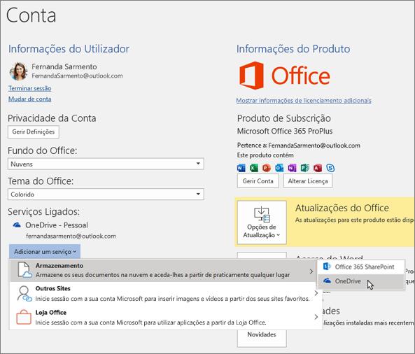 """O painel Conta em aplicações do Office, a realçar a seleção de armazenamento do OneDrive para a opção """"Adicionar um serviço"""" em Serviços Ligados"""