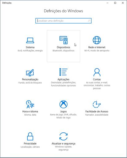 Definições de dispositivo do Windows