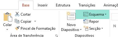 O botão Esquema no separador Base do PowerPoint mostra todos os esquemas de diapositivos disponíveis