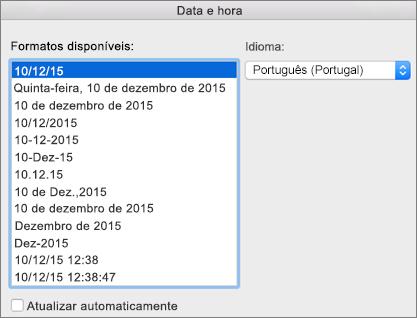 Caixa de diálogo Data e Hora