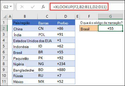 Exemplo da função XLOOKUP usada para devolver um Nome e Departamento de Empregados com base na Identificação do Funcionário. A fórmula é =XLOOKUP (B2,B5:B14,C5:C14).