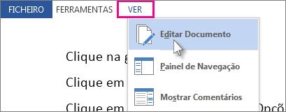 Imagem de parte do menu Ver no Modo de Leitura, com a opção Editar Documento selecionada.