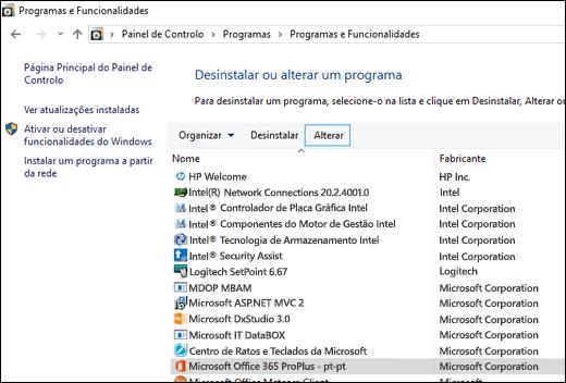 Clique em Alterar na miniaplicação Desinstalar Programas para iniciar uma reparação do Microsoft Office