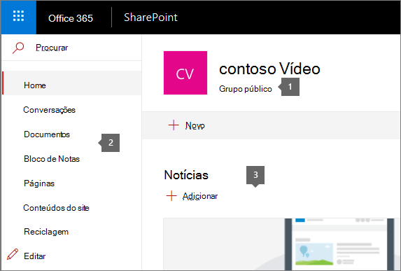 Home page do site de equipa do SharePoint