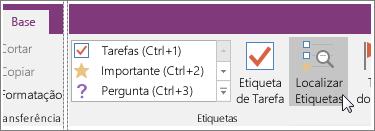 Captura de ecrã do botão Localizar Etiquetas no OneNote 2016