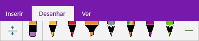 Galeria de canetas no OneNote a mostrar canetas personalizadas