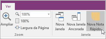 Captura de ecrã do botão Nova Nota Rápida no OneNote 2016.