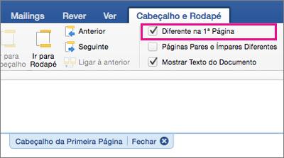 A definição Diferente na 1ª Página está realçada no separador Cabeçalho e Rodapé.