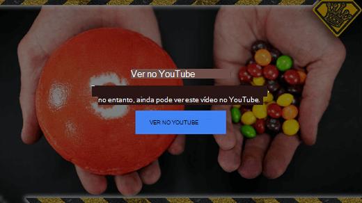 Esta mensagem de erro do YouTube explica que já não suporta vídeos incorporados com Flash