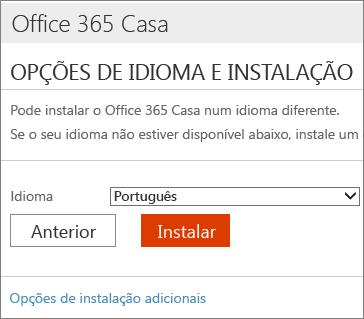 Na página de opções de idioma e instalação, selecione a ligação Opções de instalação adicionais.