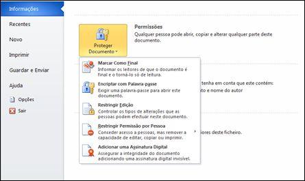 botão proteger documento com opções