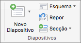 Uma captura de ecrã a mostrar o grupo Diapositivos com as opções Novo Diapositivo, Esquema, Repor e Secção.