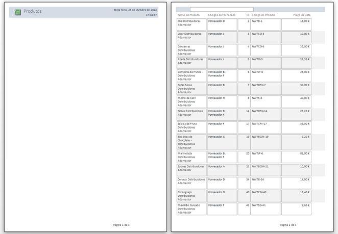 Pré-visualização das páginas do relatório com a aplicação de quebras de página