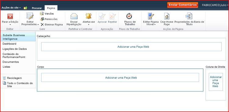 Uma página de Peças Web contém zonas para adicionar Peças Web