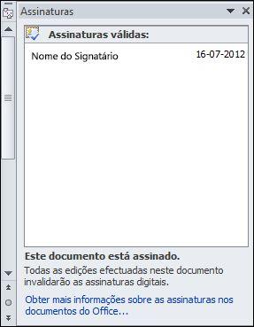 Painel Assinaturas com signatário válido