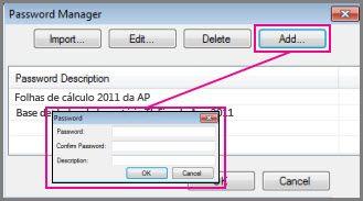 Adicionar manualmente uma palavra-passe