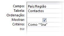 """Imagem do estruturador de consulta que mostra os critérios, com os seguintes operadores: """"como caráter universal em a"""""""