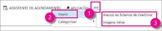 Botão Mais Ações no Outlook Web App