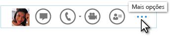 Captura de ecrã do Menu rápido do Lync a mostrar Mais Opções