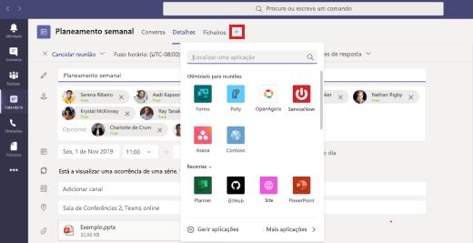 Adicione uma aplicação a um evento de calendário de reuniões.