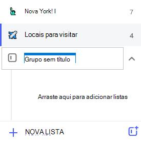Captura de tela com grupo sem título realçado e o pedido arraste-o para adicionar listas.