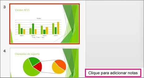Apresenta o painel de notas no PowerPoint 2016 para Mac