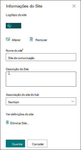 Painel de informação do site SharePoint