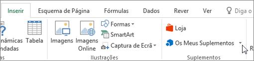 Captura de tela de uma secção do separador inserir na faixa de vistas do Excel com um cursor a apontar para os meus suplementos. Selecione os meus suplementos para aceder a suplementos para o Excel.