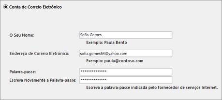 Introduzir o seu endereço de e-mail e palavra-passe