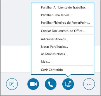 Captura de ecrã do menu Partilhar Conteúdo.