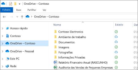 Captura de ecrã a mostrar ficheiros do OneDrive para Empresas no Explorador de Ficheiros