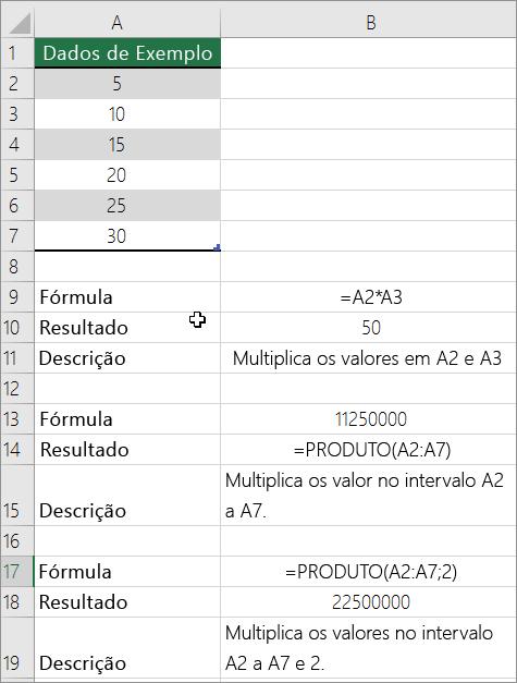 Multiplicar números utilizando a função produto