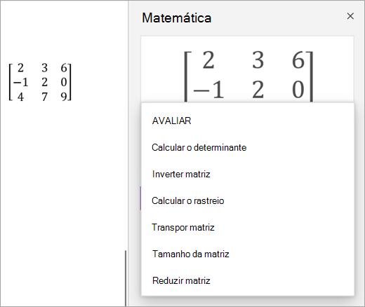 Opções de solução para as matrizes