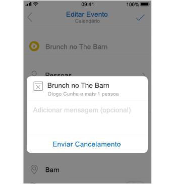 Ecrã de cancelamento com espaço para adicionar uma mensagem