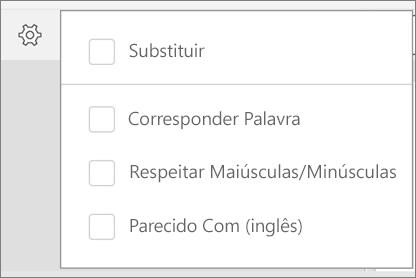 Apresenta as opções de substituir, Word correspondência, maiúsculas/minúsculas e sons, como para localizar no Word para Android.