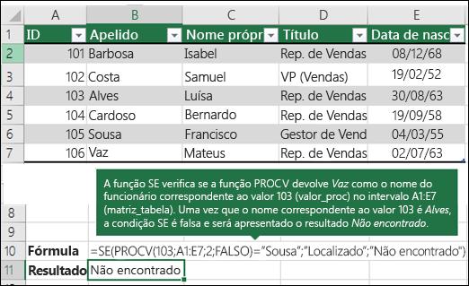 Exemplo 3 da função PROCV