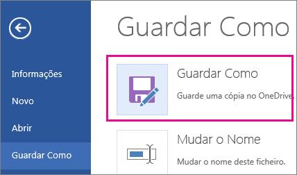 Guardar uma cópia no OneDrive