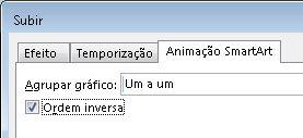 Parte do separador de Animação SmartArt mostrando a caixa de verificação Inverter Ordem